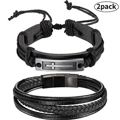 meekoo 2 Pieces Men Leather Bracelet Cross Bangle Bracelet Wristband Multi-Layer Leather Bracelet