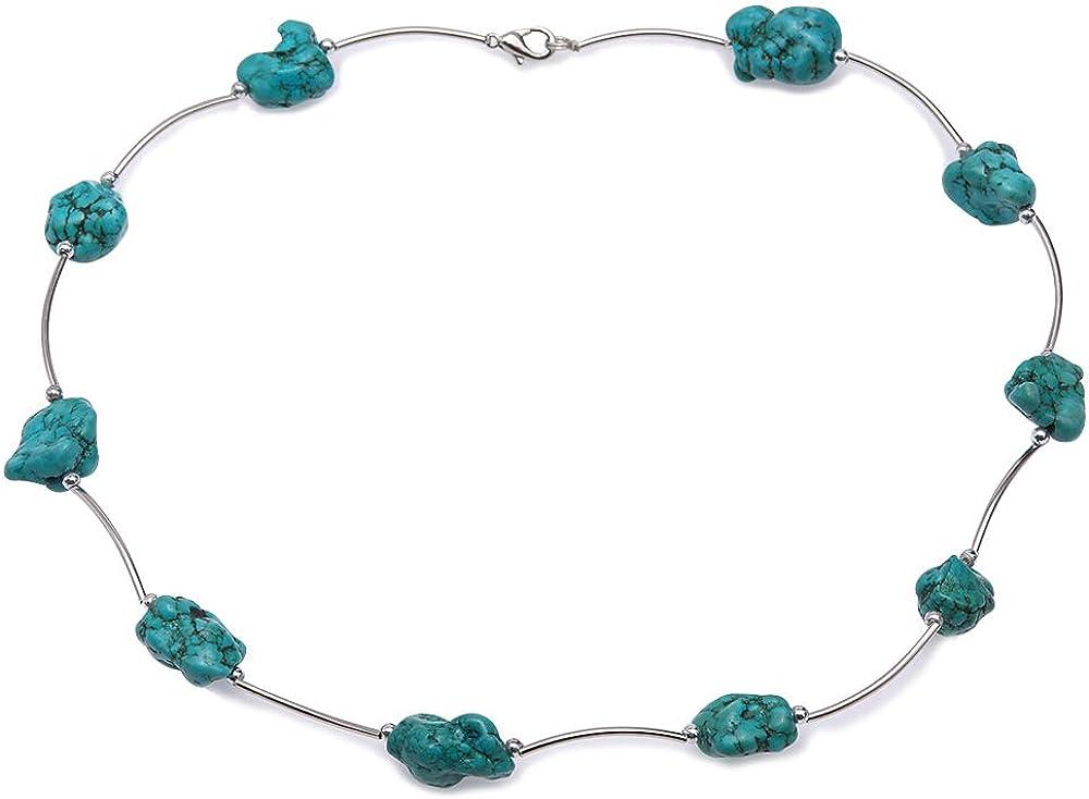 JYX - Collar de Piedras Preciosas turquesas de 13 x 20 mm, Collar de Cuentas de Turquesa Azul Irregular Hecho a Mano, Collar Turquesa para Mujer de 48 cm