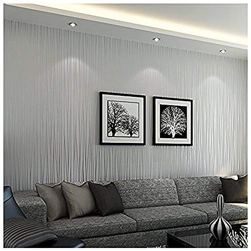Modern Wallpaper Stripe (Bloss Wallpaper Modern Minimalist Luxury Gorgeous Wall Covering Paper Decoration Stripe Wall Paper for Home Hotel Office Metallic Silver Grey)