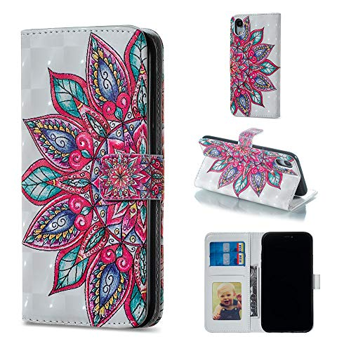 """Amocase Wallet Leather Case with 2 in 1 Stylus for iPhone XR 6.1"""",Premium Slim Cute 3D Painting Shockproof Magnetic PU Leather Card Slot Stand Case - Retro Mandala"""
