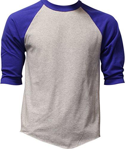 Raglan Blue T-shirt Royal Heather (Casual Raglan Tee 3/4 Sleeve Tee Shirt Jersey, Heather Gray / Royal Blue, Large)