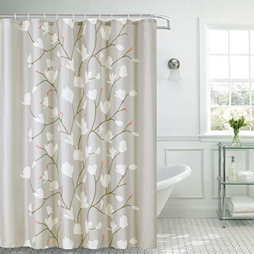 Shower Curtain Fabric Grey Flowers with Hooks Bath Curtain Waterproof, 72x72 INCH (Clearance Shower Curtains)