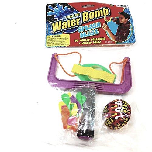 Water Bomb Toss Em Splash Blast Slingshot 10 Balloons & Ball Set Pool/Beach ()