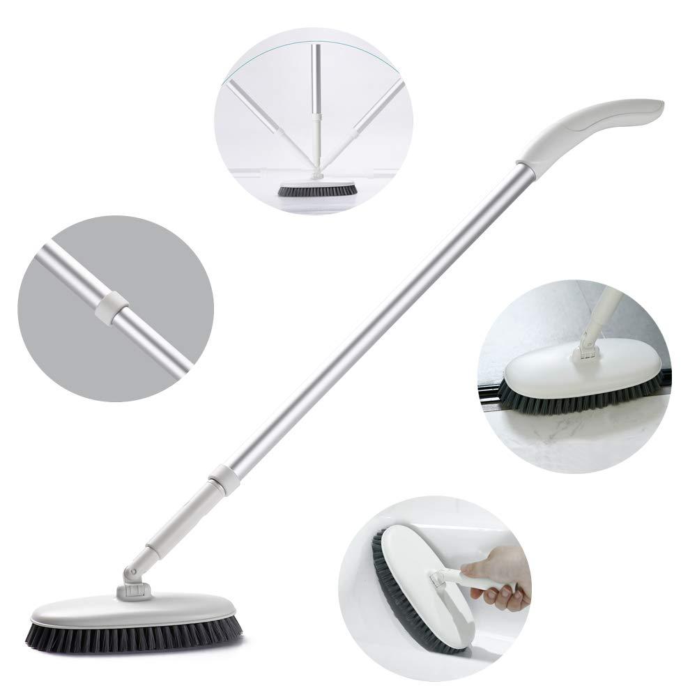 Cepillo para Suelo con Mango Largo Ajustable Pared Cepillo para Juntas de cerdas r/ígidas para la Limpieza de ba/ño Cocina Komost Cepillo para Suelo ba/ñera y Azulejos