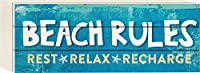 Beach Rules Rest Relax Recharge Blue 4.5 x 12 inch Wood Sign Block Plaque