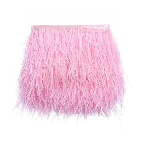 Lanshi Ostrich Feathers Trims Fringe with Satin Ribbon Tape for Dress Sewing Crafts Costumes Decoration Pack of 2 Yards (Pink) ()