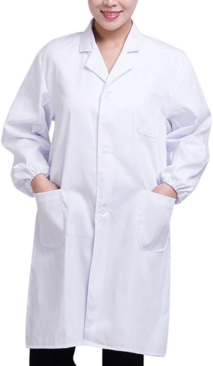 Brawdress Unisex Bata de Médico Laboratorio Enfermera Sanitaria Algodón, Mujer Hombre Camisa de Trabajo Blanca de Manga Larga S-3XL: Amazon.es: Ropa y accesorios