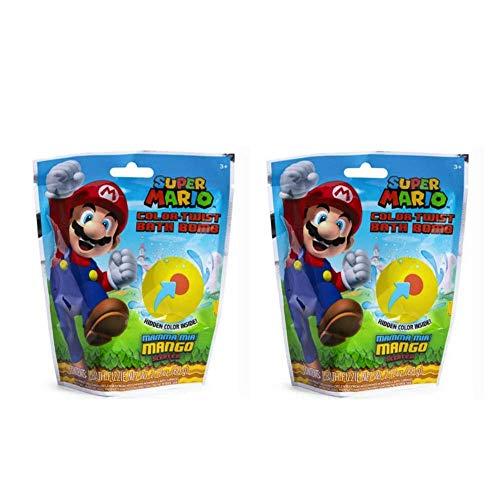 Kids Bath Bombs - Set of 2 Character Color-Twist Bath Bombs - Fizzes & Tints Bathwater with Vibrant Colors (Super Mario, Mamma Mia Mango) ()