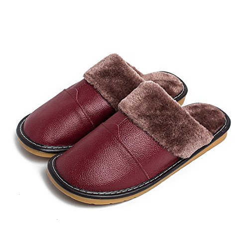 Winter Warm Fuzzy Lined House Indoor Leather Slipper Shoes for Women by Maylian