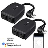 LITEdge Outdoor Wi-Fi Smart Plug, Waterproof Smart Outlet Socket, Works with Alexa, APP Wireless Remote Control Available, Pack of 2