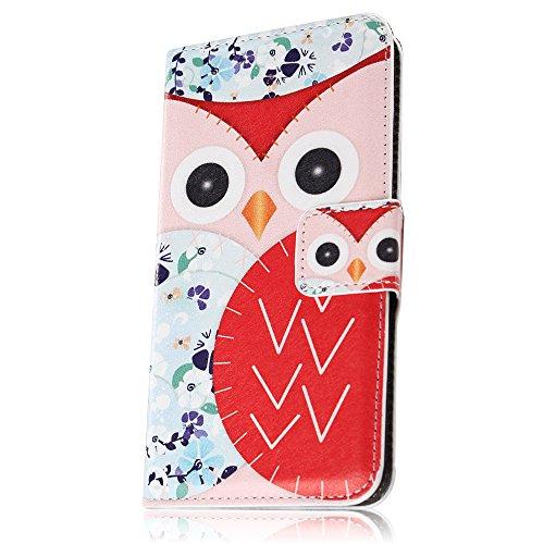 PowerQ [ para Samsung Galaxy I9190 9190 S4mini - Splice-Red&Blue ] PU Funda Serie bolsa Modelo colorido con bonito hermoso patrón de impresión Impresión Dibujo monedero de la cartera de la cubierta mó Splice-Red&White