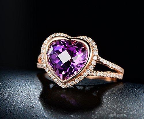 Solid 18k rose gold promise ring,0.39ct SI-H diamond Engagement ring,3.75ct Natural Heart Shaped VVS purple Amethyst,bezel set