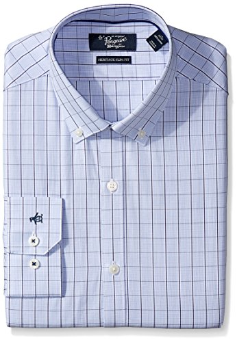 Original Penguin Men's Slim Fit Performance Spread Collar Check Dress Shirt, Blue Windowpane, 15 32/33 by Original Penguin