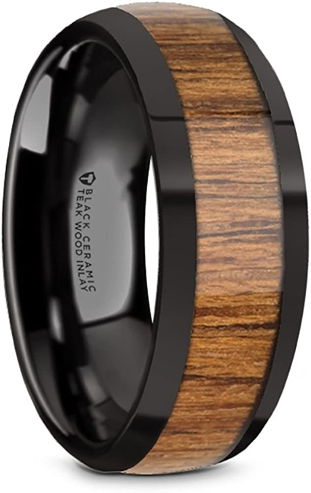 8mm Thorsten TULIAN Domed Style Black Ceramic Wedding Ring with Teak Wood Wood Inlay and Polished Beveled Edges Comfort Fit Lightweight Durable Wooden Wedding Band Rings