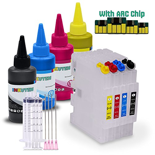 INKUTEN 4 Ricoh Aficio SG 3110DNW GC41 GC-41 Refillable Cartridges with 4x100ml Sublimation ink and Auto Reset Chips (for Sublimation Ink, Heat Transfer Printing)