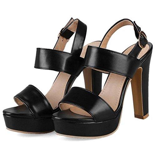 RAZAMAZA Mujer Moda Correa Tacon Ancho Sandalias Plataforma Hebilla Zapatos Negro