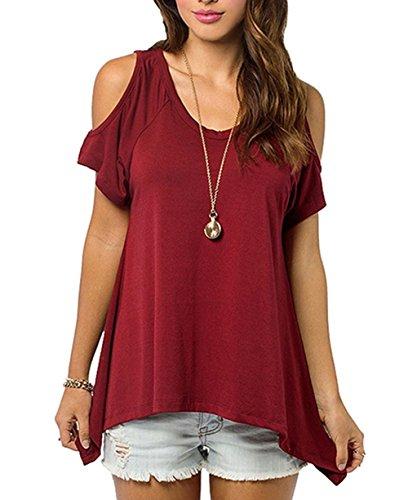 ut Shoulder Tops Plus Size Cute Shirts Short Sleeve Tshirts(Burgundy,S) (Red Prime T-shirt)
