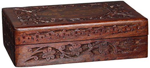 - Cloud Shops Handcrafted Wooden Jewelry/Keepsake Box with Lid - Small Wood Storage Chest Vintage Look (8 x 5)