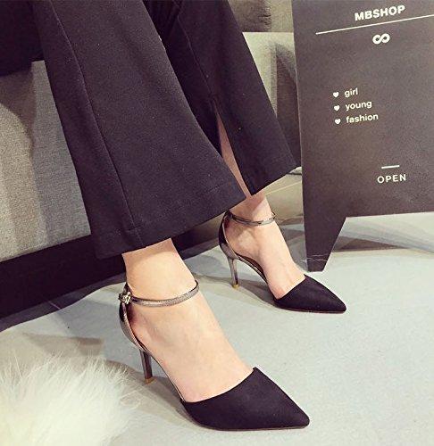 verano zapatos zapatos elegante pasta correas color de Sandalias punta Ocasional t alto de de primavera negro talón Transpirable 35 con hueca la solo Ajunr de áspero mujer 8cm 39 zapatos El moda Mujer P4fZWcnq5v