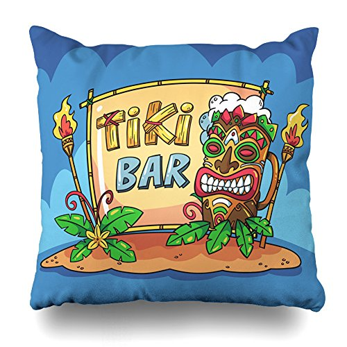 """Suesoso Decorative Pillows Case 18""""x18"""" Two Sides Printed Soft Cotton Tiki Bar With Cartoon Style Nice Gift Indoor/Outdoor Throw Pillow Cover Decorative Home Decor Garden Kitchen Sofa from Suesoso"""