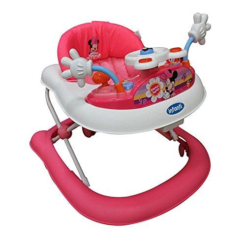Disney Baby Minnie Andadera con Charola Electrónica, rosa