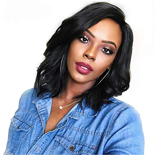 """YIlin Hair Brazilian Virgin Human Hair Lace Front Wigs Glueless Short Bob Human Hair Wigs Wavy With Baby Hair For Black Women Short Wavy Lace Wigs On Sale(130% density,10""""Lace Front) from YIlin"""