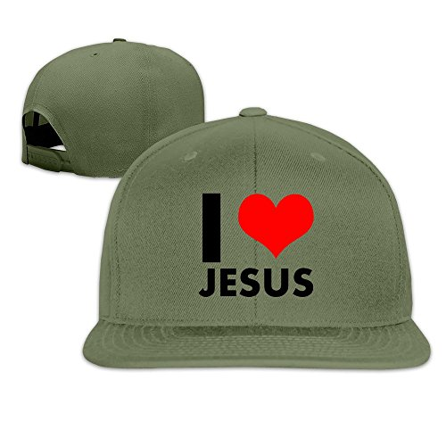 Custom Unisex-Adult I Love Jesus Heart Flat Billed Hiphop Caps ForestGreen (Bose Church Speakers)