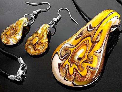 Ecloud Shop Fashion drops-shaped Lampwork Glass beautiful Murano Foil Pendant Necklace Earrings