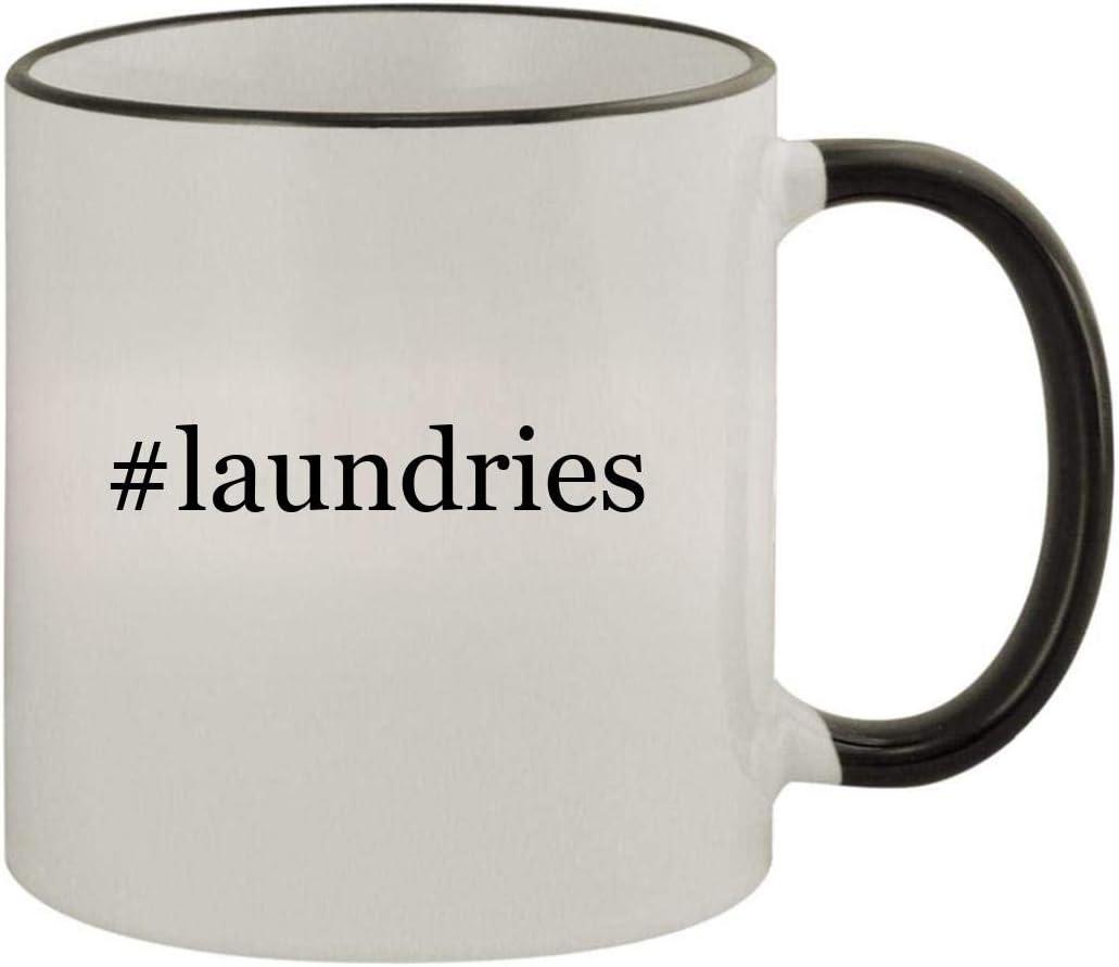 #laundries - 11oz Ceramic Colored Rim & Handle Coffee Mug, Black