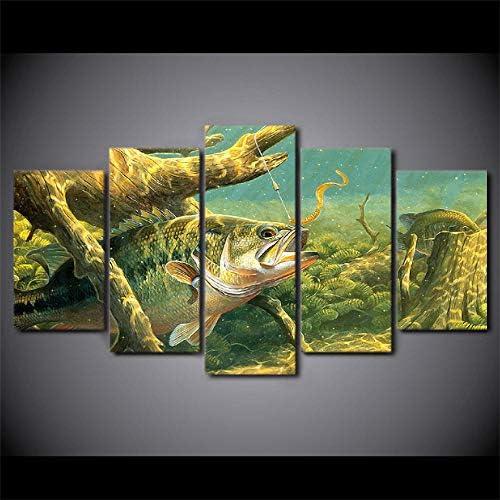 キャンバス絵画5パネル動物魚壁アート抽象装飾写真用リビングルーム寝室プリント40X60Cmx2 40X80Cmx2 40X100Cmx1フレームなし