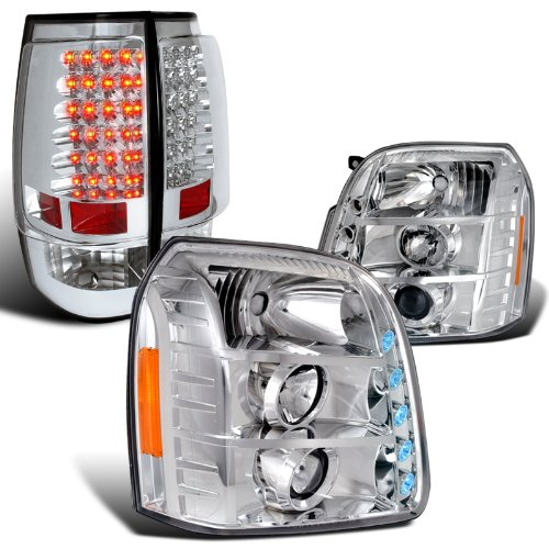 Yukon Xl Clear Projector Headlights+Chrome Led Tail Lights Brake (Projector Chrome Clear Headlight)