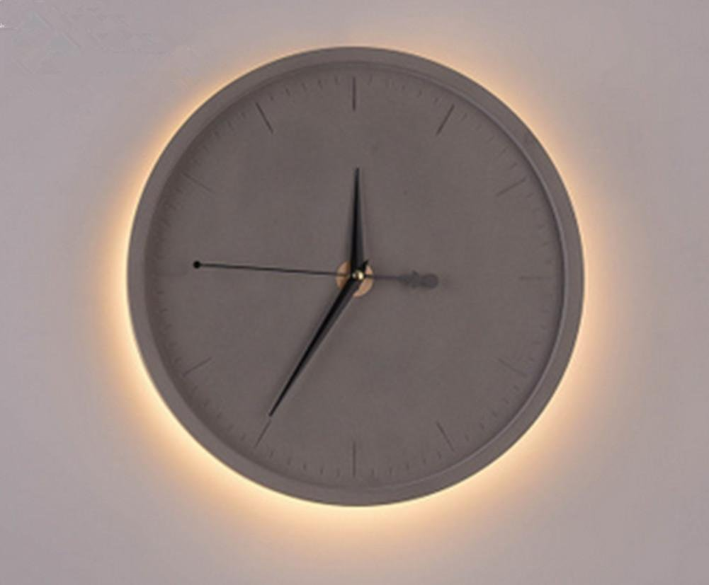 Cement Led Clock Nordic Wall Lamp Retro Industrial Wall Clock Wall Lamp Living Room Bedroom Art Creative Personality Watch Cement Wall Lamp (Diameter 30Cm, High 30Cm) , 3