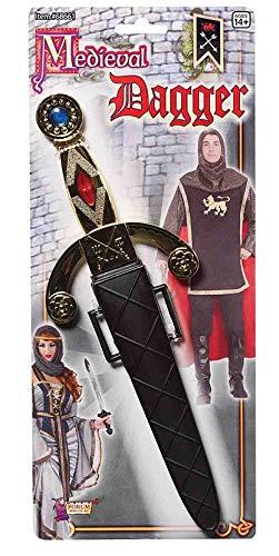 Forum Novelties 68661 Unisex-Adults Medieval Dagger, Gold/Black, Standard, Multicolor -