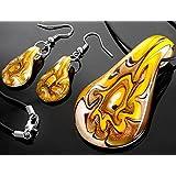 Ecloud Shop® Fashion drops-shaped Lampwork Glass beautiful Murano Foil Pendant Necklace Earrings
