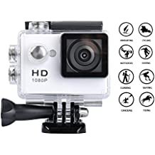 Digital Action Camera 30m Waterproof Sports Camera Cam Camcorders 1080P 2 inch TFT LCD HD 12MP 140°Wide-Angle Lens and Helmet Accessories Kit (White)