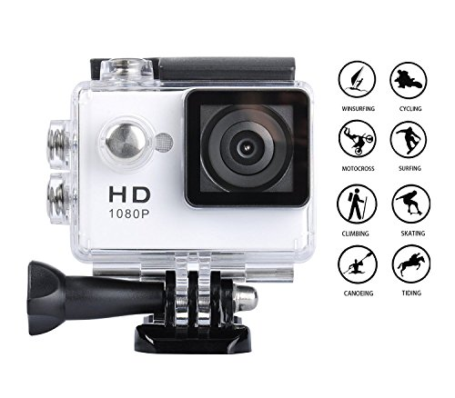 Digital Action Camera Waterproof Sports Camera Cam Camcorders Wifi HD 1080P 30fps 12MP 170 Degree Wide Angle and Helmet Accessories Kit- Waterproof 100ft (white) by Tyson