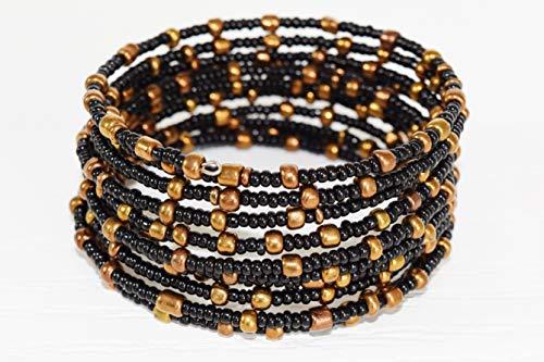 African Bracelet for Women - Maasai Jewelry - Beaded Wrap Bracelet - Handmade in Kenya - Black, Golden, KB03