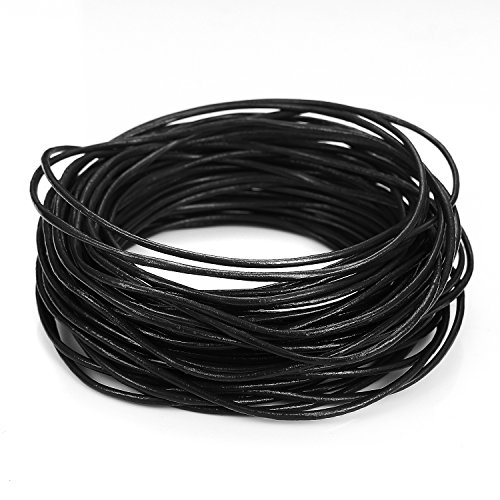 BEADNOVA 1.5mm Round Genuine Leather Cord For Bracelet Beading Jewelry Making 10 Meters/ 11 Yards, Black