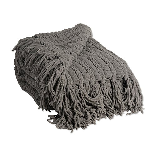 Luxury Chenille Woven Throw Blanket with Fringe 50x60