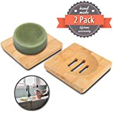 Laundry Room Sink Ideas Home Bathroom Wooden Soap Case Holder Sink Deck Bathtub Shower Dish Rectangular Hand Craft Natural Wooden Holder for Sponges, Scrubber, Soap by Magift (2 Pcs) (3.15 in)