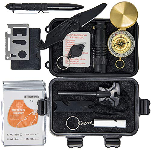 Premium Survival Kit – Best Gifts for Men, Car Accessories, Hunting & Camping Accessories, Survival Gear Includes Flashlight, Compass, Fire Starter for Hiking, Fishing & Travel