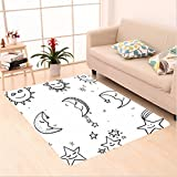 Nalahome Custom carpet etchy Hand Drawn Image of Sun Moon Stars Emoji Kids Nursery Room Art Print Image Black and White area rugs for Living Dining Room Bedroom Hallway Office Carpet (32.4''x118'')