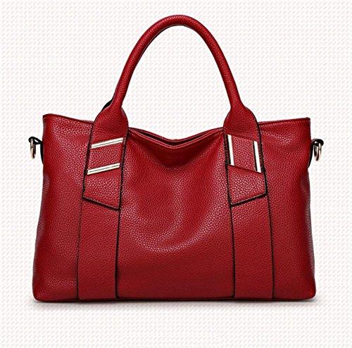SHTBO Bolso de Mano del Hombro del Estilo de Tendencia de Moda, Black red