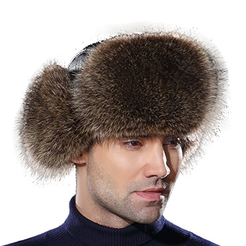 URSFUR Winter Mens Trapper Hat Real Leather and Raccoon Fur Russian Ushanka Cap by URSFUR