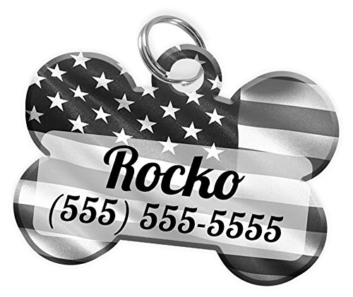 Pet ID Dog Tag (Bone Shaped) USA Flag Black & Grey Personalized Custom Pet Tag with Pets Name & Contact Number [Multiple Other Font Choices] [USA COMPANY] [Multiple Colors]
