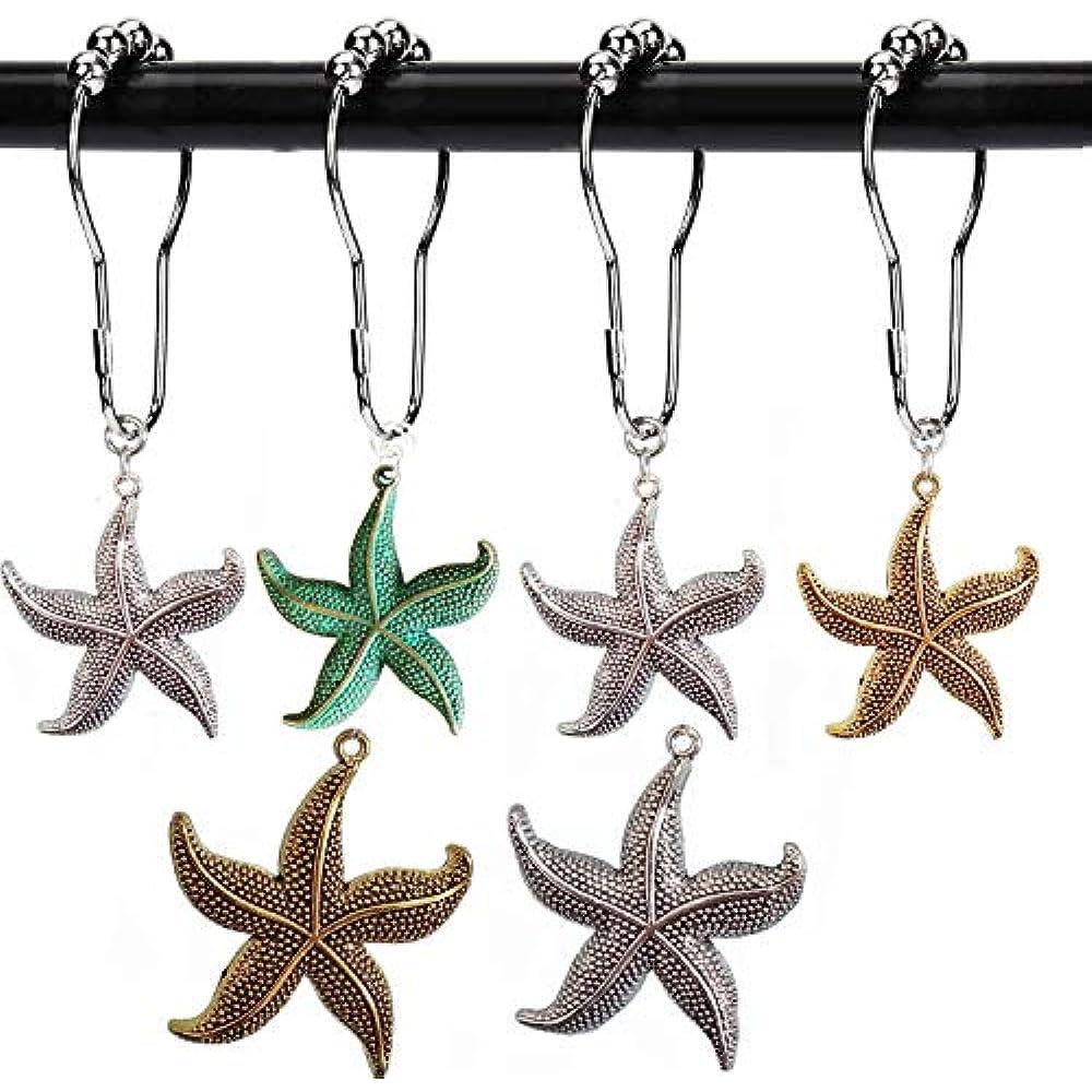 Set of 12 Bathroom Shower Curtain Decorative Hooks Rings Starfish Lighthouse