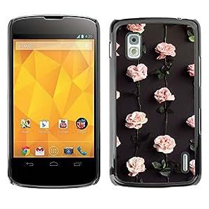 Paccase / SLIM PC / Aliminium Casa Carcasa Funda Case Cover - Roses Wallpaper Flowers Blossom - LG Google Nexus 4 E960
