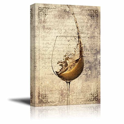 wall26 - Canvas Wall Art - Wine Splash in Glass on Vintage Letter Background - Gallery Wrap Modern Home Decor | Ready to Hang - 16x24 inches (Wine Vintage Wall Decor)