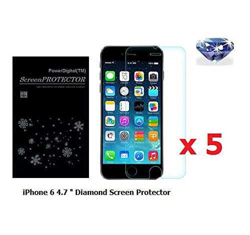 Powerdigital(tm) 5 Pack Diamond Sparkling Glitter Screen Protector for Apple iPhone 8/7/iPhone 6/6s 4.7 Inch with Lint Cleaning Cloth (Retail Packaging)