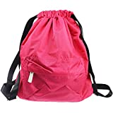 Waterproof Drawstring Bag,Lightweight Sports Backpack for Swimming,Gym,Beach,Camping (Pink)